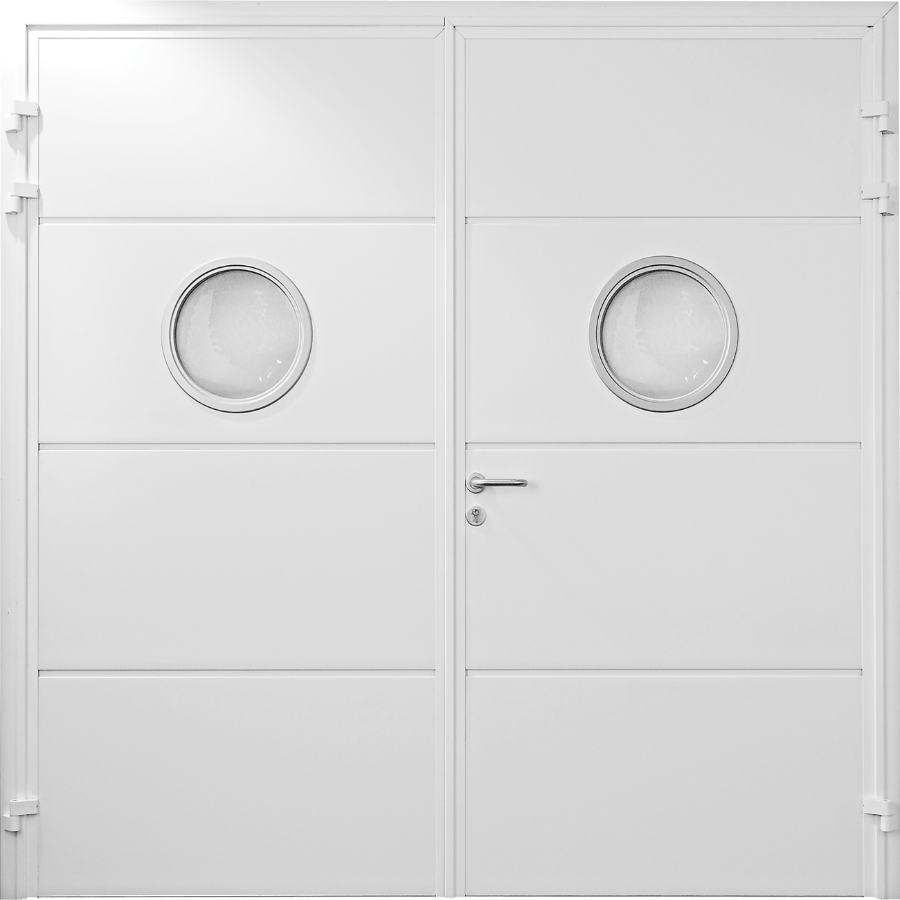 Carteck Solid Horizontal side hinged door with porthole windows